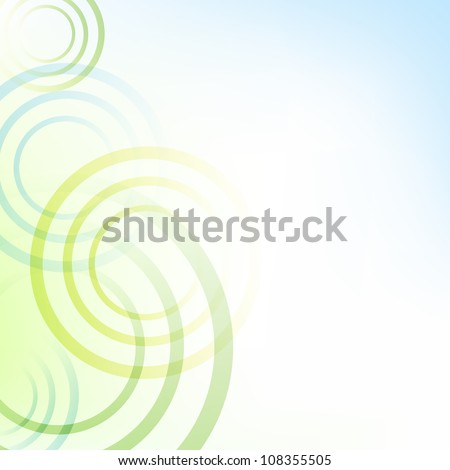 Pastel Green And Blue Background With Circles, Vector Illustration