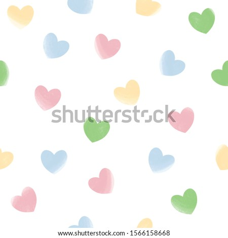 Pastel hearts seamless pattern white isolated. Love, romantic background, basis backdrop