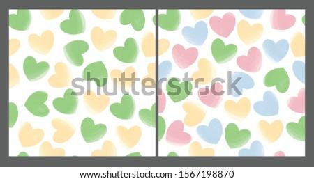Pastel hearts seamless patterns set. Love, romantic background, basis backdrop