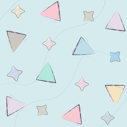 Pastel line pattern triangle and star in pattern and background, vector.