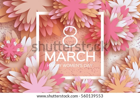 Pastel 8 March. Floral Greeting card. Happy Women's Day. Paper cut flower holiday background with square Frame, space for text. Origami Trendy Design Template. Happy Mother's Day. Vector illustration #560139553