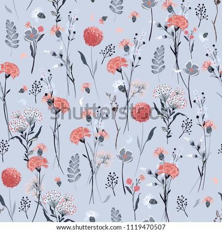 pastel  meadow flowers  full of