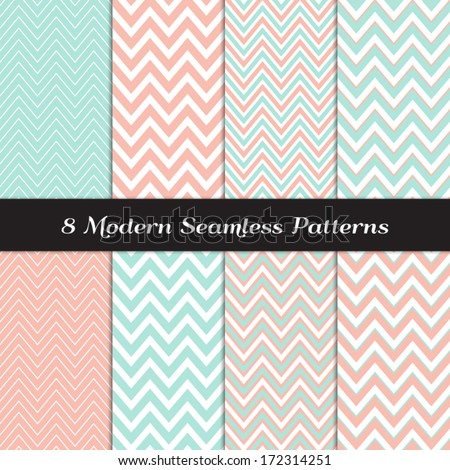 Coral Color Wallpaper Patterns Thick And Thin Chevron Seamless Soft Backgrounds
