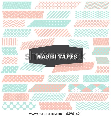 Pastel Mint and Coral Washi Tape Strips with Torn Edges and Different Patterns. Semitransparent. Photo Frame Border, Web Blog Layout Element, Clip Art, Scrapbook Embellishment. Global colors used.