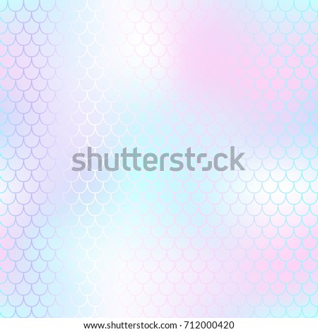 Pastel pink mermaid seamless pattern. Fantastic fish scale vector pattern. Colorful mermaid tail background. Fish skin texture in marshmallow colors. Shiny mermaid skin surface. Wedding template