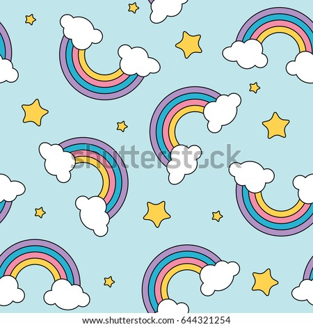 pastel rainbow and stars