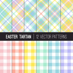 Pastel Rainbow Easter Tartan Plaid and Pixel Gingham Vector Patterns. Light Shades of Pink, Coral Orange, Yellow, Turquoise, Blue and Lavender Purple. Repeating Pattern Tile Swatches Included.