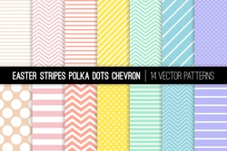 Pastel Rainbow Polka Dot, Chevron and Stripes Vector Patterns. Easter Backgrounds in Pink, Blue, Yellow, Turquoise, Coral and Lavender Purple. Minimal Design. Repeating Pattern Tile Swatches Included.