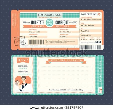 Pastel Retro Boarding Pass Ticket Wedding Invitation Template