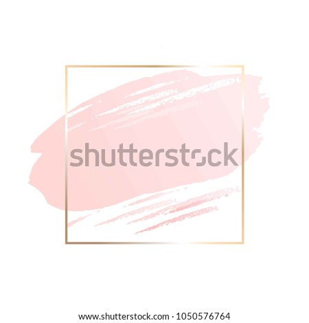 Pastel rose colors brush strokes and gold contour square frame. Abstract background.