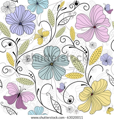 Pastel seamless floral pattern with flowers and butterflies (vector)