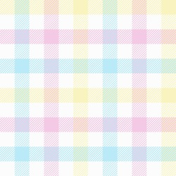 Pastel tablecloth gingham. Seamless vector plaid pattern suitable for fashion, interiors and Easter decor.