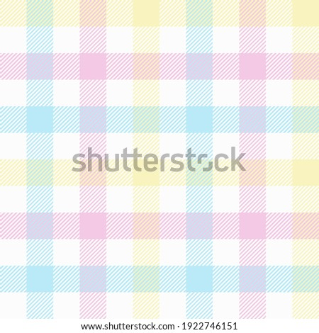 Pastel tablecloth gingham. Seamless vector plaid pattern suitable for fashion, interiors and Easter decor. Stock photo ©