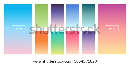 Pastel, tender color gradient backgrounds. Screen vector design for mobile app. Soft color abstract gradients.
