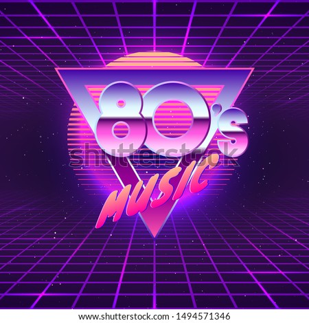 Paster template for retro party 80s. Neon colors. Vintage electronic music flyer. Vector illustration
