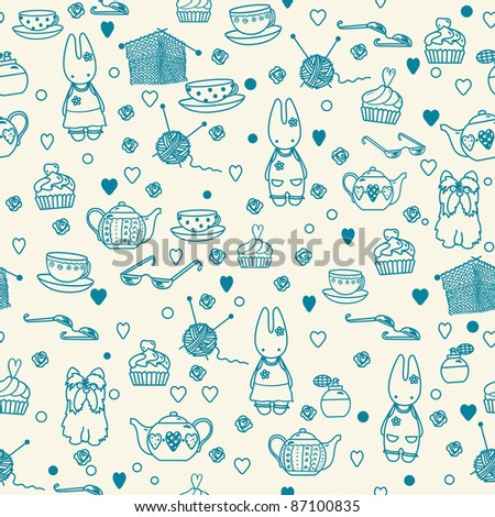Pastime things; baby bunny, tea pattern. Can be used for wallpaper, pattern fills, web page background, surface textures.