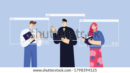 Pastor meets their congregation members online. Man and woman holding Holy Bible talk to the pastor remotely. Bible discussion. Isolated flat characters in messenger app window frames.   Stok fotoğraf ©
