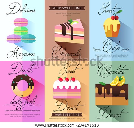 Pastry and bakery desserts mini poster set isolated vector illustration.. Cake. Bakery. Flat illustration. Pastry shop icon isolated on background, cafe, restaurant or pastry menu design.  Logo