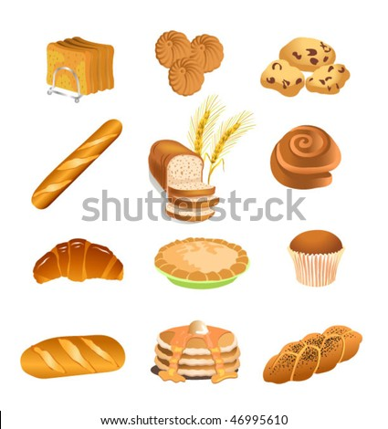 pastry icons - stock vector