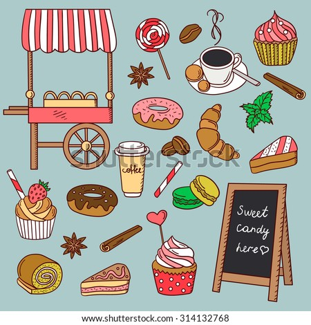pastry shop hand drawn icon set