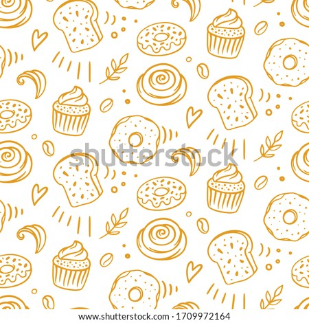 Pastry, sweet bakery seamless pattern with baked goods. Confectionery baking design. Hand drawn cupcakes and muffins doodles background for wrapping paper, package print, cafeteria and shop wallpapers