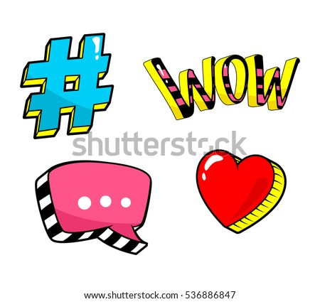 Patch badge set isolated on white. Speech bubble, hashtag, wow, heart pin, sticker. Vector Fashion collection. Retro, pop art, cartoon, comic style 80s 90s