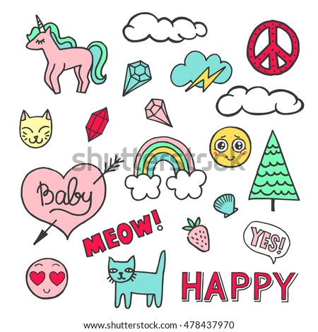 Patch badges with hearts, speech bubbles, unicorn, clouds, cats, strawberry and other elements. Vector illustration isolated on white background. Set of stickers, pins, patches in cartoon comic style.