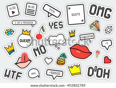 Patch fashion collection. Popular phrases: Omg / Yes / No / Wtf / Doh. Sticker style pixel art, crown, lips, ice cream, diamond, pineapple. Design elements vector illustration