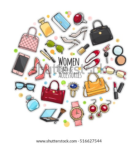 Patch of fashion accessories. Woman items and accessories. Collection of bags, shoes, high heels, sun glasses, phones, car keys, watch and cosmetics in circle on white background. Vector illustration.