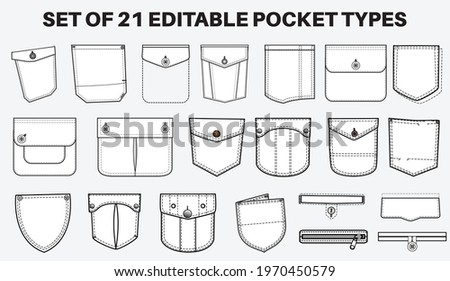 Patch pocket flat sketch vector illustration set, different types of Clothing Pockets  for jeans pocket, denim, sleeve arm, cargo pants, dresses, garments, Clothing and Accessories Stockfoto ©