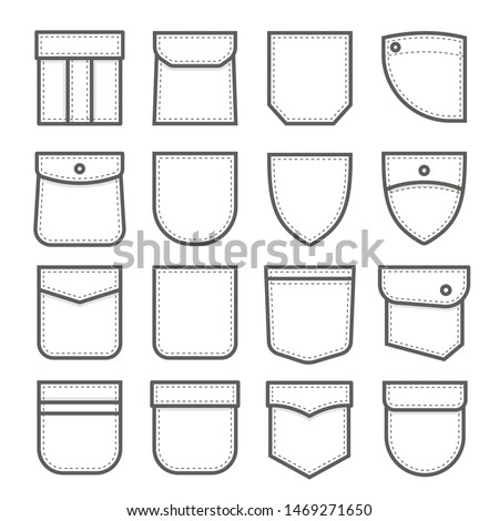 Patch pocket set, fabric and cloth element. Pattern for garment. Vector line art  pocket illustration isolated on white background Stock foto ©