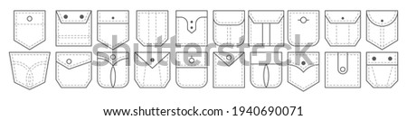 Patch pocket. Set of outline bag vector icons. Uniform casual style denim pockets patches. Jean shirt clothes isolated icon. Foto stock ©
