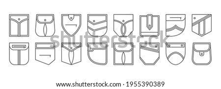 Patch pocket vector icons, buttons and line seam of jeans shirt and pants. Clothes pockets different shapes outline casual style. Geometric design elements isolated. Fashion illustration Foto stock ©