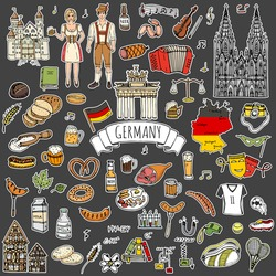 Patches. Hand drawn doodle set of Germany icons. Vector illustration set. Cartoon German landmark. Sketchy Europe travel collection: Sausage, Beer, Wheat bread, football, tennis, classic music, castle