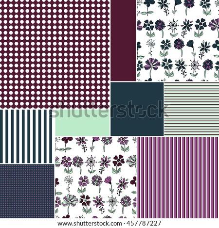 patchwork. quilt. flowers. strip. peas. point #457787227