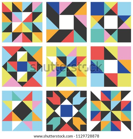 Patchwork star seamless pattern. Vector illustration.