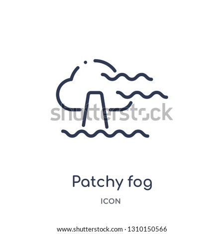 patchy fog icon from weather outline collection. Thin line patchy fog icon isolated on white background.