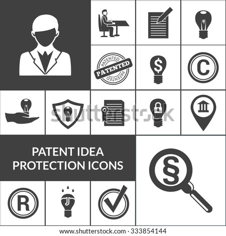 Patent idea protection and intellectual property icons black isolated vector illustration