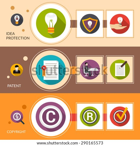 Patent idea protection horizontal banner set with copyright flat elements isolated vector illustration