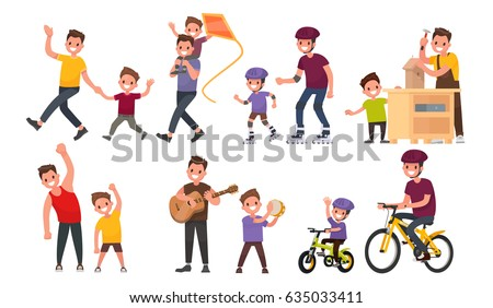 Paternity. Father and son walk, roll on roller and bicycles, play musical instruments, perform exercises. Vector illustration in a flat style - Shutterstock ID 635033411