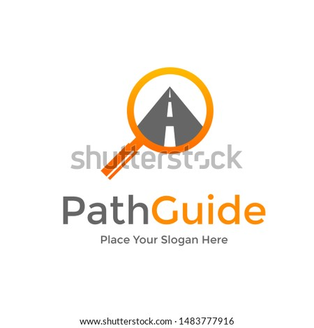 Path guide or map guide vector logo template with street and magnifying glass symbol