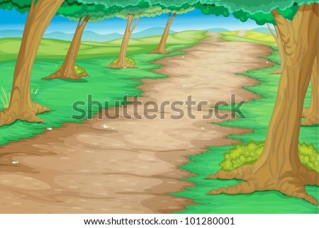 path through a cartoon forest