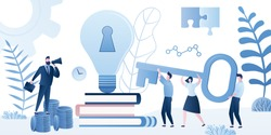 Path to success, brainstorming and motivation background. Big idea bulb with key hole and business people holding key. Male boss with loudspeaker. Teamwork,solution and decision concept. Trendy vector