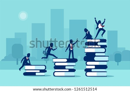 Path to success, levels of education concept. Vector of business people having staff training and learning support.