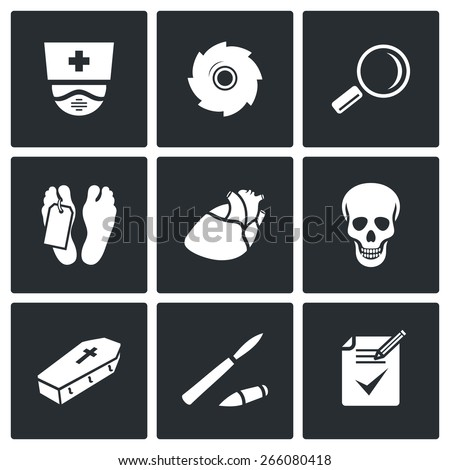 pathologist and morgue icons