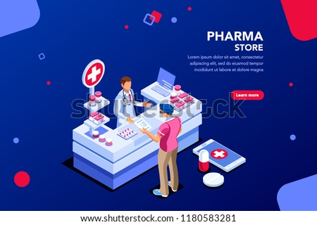 Patient and pharmacist doctor infographic, healthy recipe element, medicament for aid, professional medication. Computer and pills banner. Images of client at shop. Flat isometric Vector illustration. #1180583281