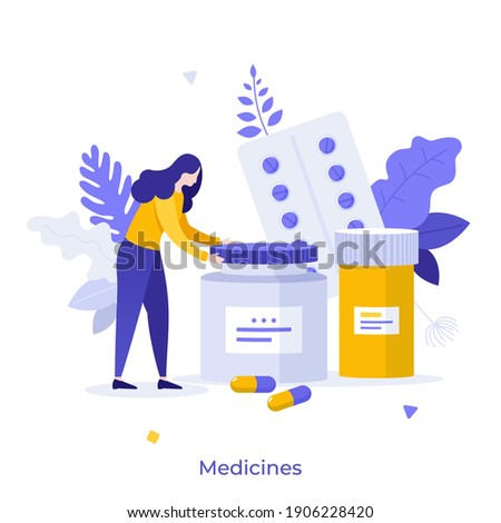 Patient and pills or meds in blisters and jars. Concept of medication, medicament, medicine, pharmaceutical drug, medical treatment, pharmacology. Modern flat vector illustration for banner, poster.