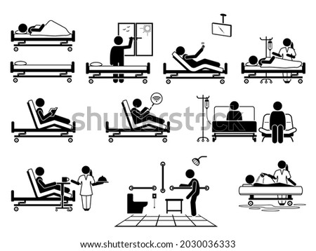 Patient at hospital room with many facilities stick figure pictogram icons. Vector illustrations of patient, hospital bed, window, television, nurse, wifi, visitor, food serving, toilet and bathroom. Foto stock ©