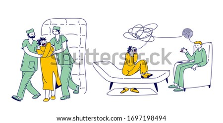 Patient Character in Straitjacket in Asylum or Mentally Clinic. Madhouse Room with Bed, Soft Walls, Doctor and Orderly. Psychiatric Hospital for People with Mental Disorder. Linear Vector Illustration Stock photo ©