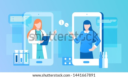 Patient consultation to the doctor via smartphone. Online medical support. Online doctor. Healthcare services, Ask a doctor. Family female doctor, gynecologist with stethoscope on the screen